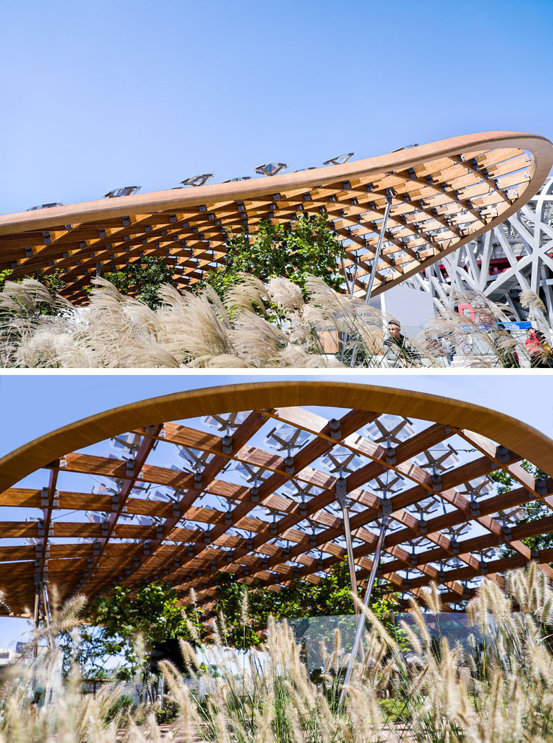 "MAD Architects together with Hanergy have created ""Living Garden"", a modern pavilion that breaks down the boundaries between interior and exterior, giving inhabitants the feeling that they are living in nature. #Architecture #ModernPavilion #Wood #SolarPanels #Design"