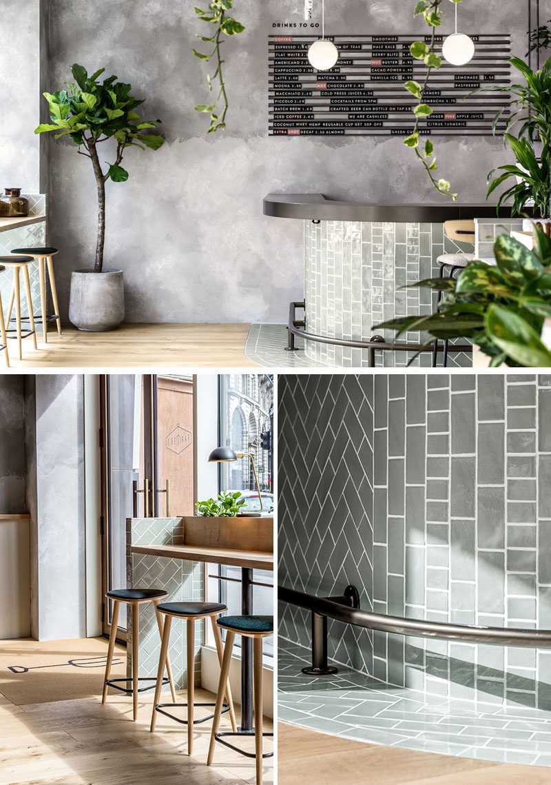 Grey tiles and rendered concrete walls have been used to create a contemporary and relaxing restaurant interior. #Restaurant #ModernRestaurant