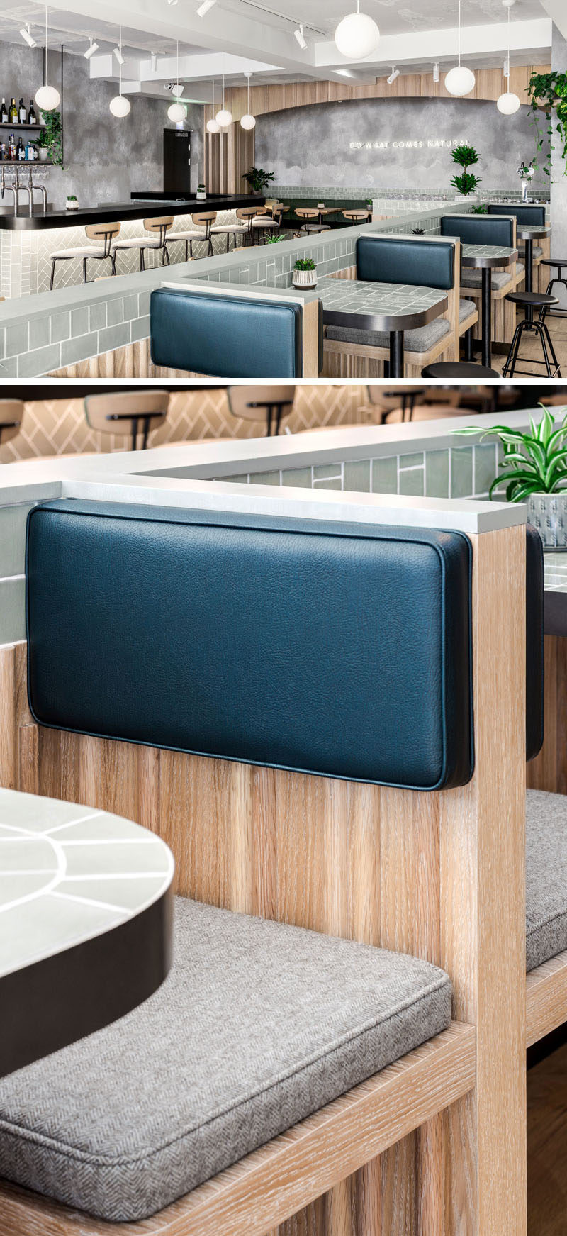 This modern restaurant has a lighter material palette for the food bar enticing day customers, while darker tones on the other side of the interior sets a cosier mood and scene for night service. #ModernRestaurant #RestaurantDesign #RestaurantSeating