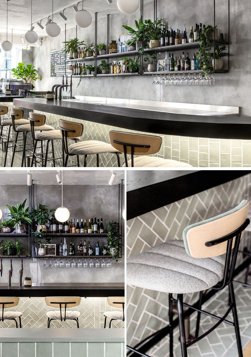 Inspired by the diversity of Tel Aviv architecture, this restaurant geatures handcrafted tiles and hand-rendered concrete walls that add texture and depth to the interior. #RestaurantDesign #BarDesign #CocktailBar