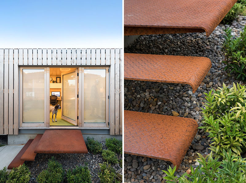 The steel stairs of this shipping container office have developed a rusty patina over the course of a year. #Stairs #SteelStairs #ExteriorStairs