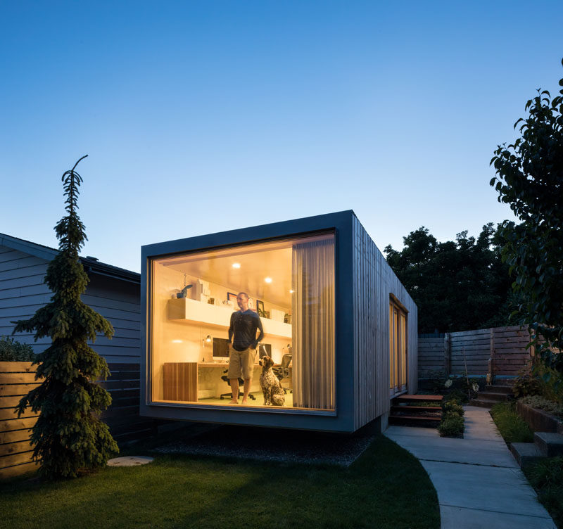 An oversized shipping container was transformed into a modern office for an architectural firm. #Construction #ShippingContainer #Workplace #ShippingContainerOffice