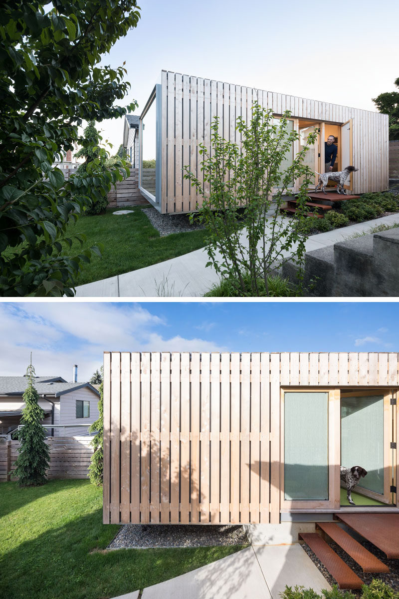 This modern shipping container office has been clad in yellow cedar, which over will develop a grey patina. #ShippingContainerOffice #CedarCladding #CedarSiding