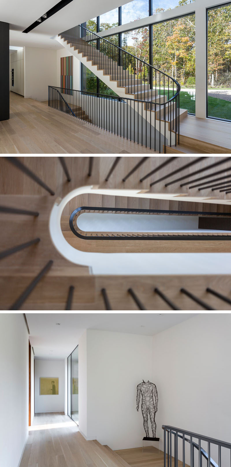 This modern house features stairs with wood treads and a black railing. #Stairs #StairDesign