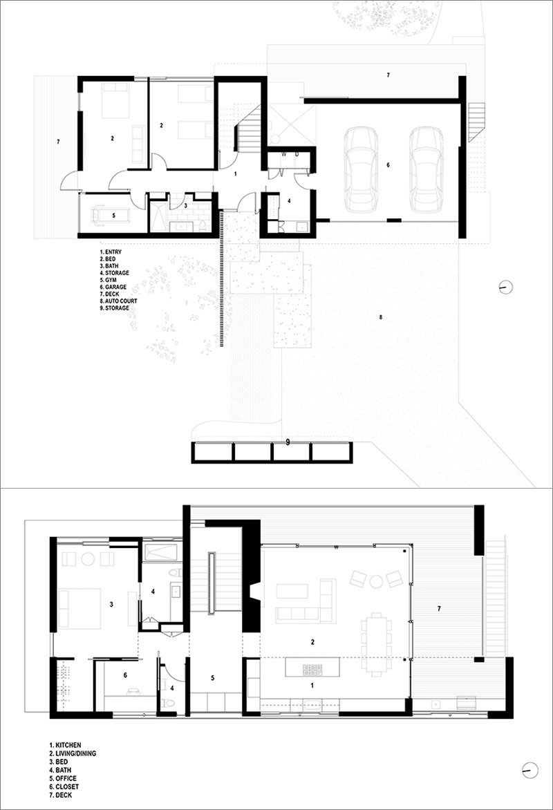 FLOOR PLAN - RO | ROCKETT DESIGN have completed a new and contemporary two-storey house in Driggs, Idaho, that's surrounded an expansive wetland and upland regions. #ModernHouse #ContemporaryHouse #Architecture