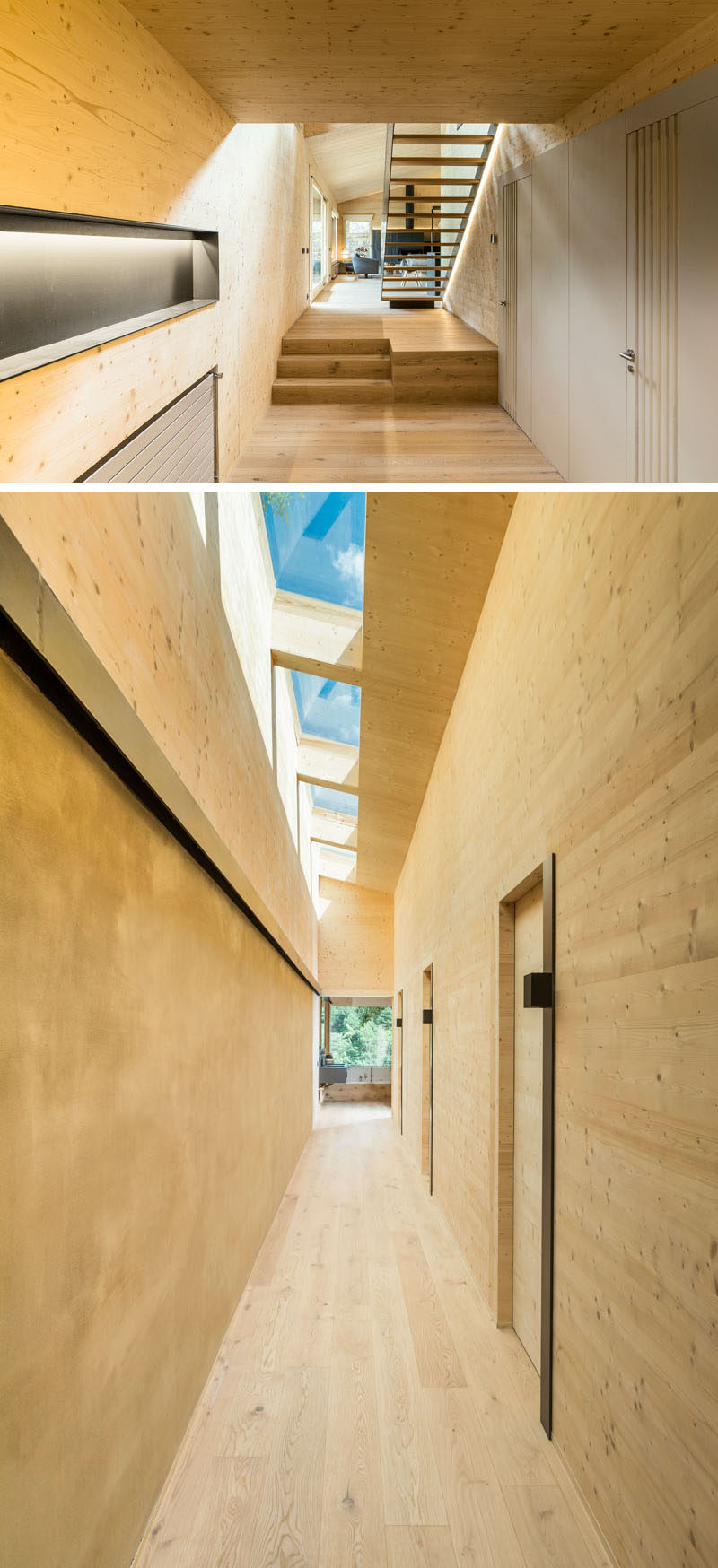 This mostly wood hallway that leads to the bedrooms and bathroom, has skylights to allow natural light to filter through to the interior, #Hallway #Skylights