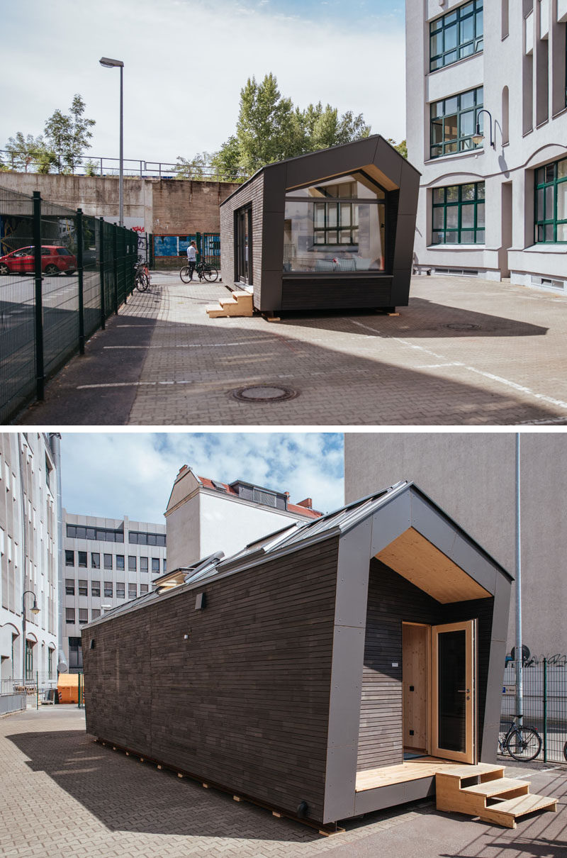 A team of designers have created Cabin Spacey, a small urban cabin in Berlin, Germany, that offers an alternative to typical rental apartments, and can be placed on an unused roof, urban wasteland, or parking lot. #SmallCabin #SmallLiving #UrbanCabin