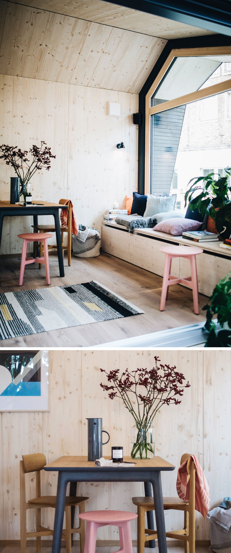 In this tiny home multi-functional lounge, there's a window seat that transforms into a guest bed, and a small dining area. #TinyHome #UrbanCabin #WindowSeat