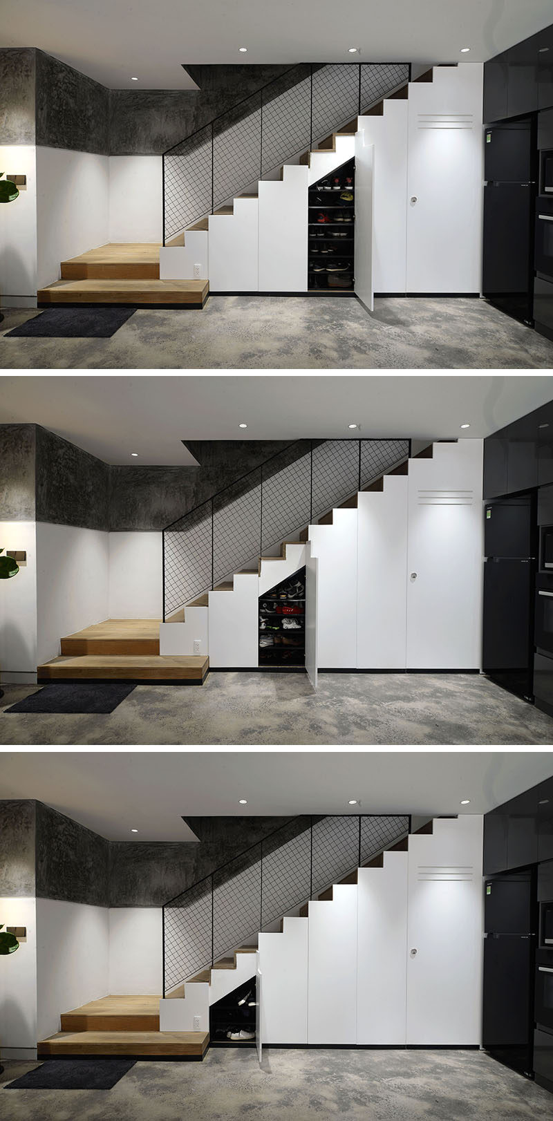 These modern stairs have hidden storage cabinets beneath them. #HiddenStorage #StairsWithStorage