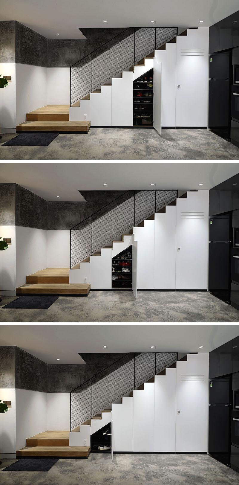 These modern stairs have hidden storage cabinets beneath them. #HiddenStorage #StairsWithStorage