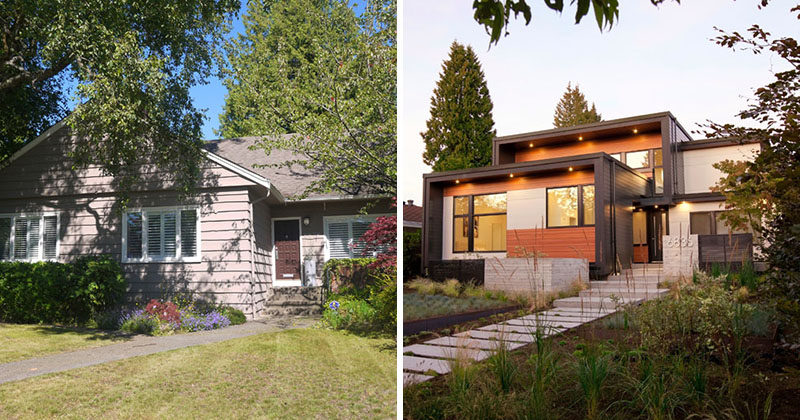 BEFORE + AFTER - ONE SEED Architecture + Interiors have recently completed the transformation of a 1957 bungalow in Vancouver's Oakridge neighbourhood, that was the homeowner's boyhood home and is nowwhere he and his wife are raising their two sons. #HouseRenovation #ModernHouse #Architecture