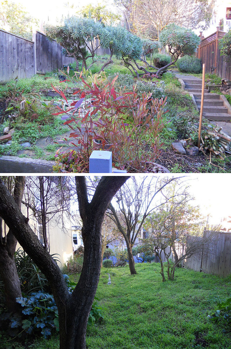 BEFORE PHOTO - This backyard was transformed into a modern tiered garden with seating, a firebowl, a water feature, and stairs connecting the different levels. #ModernBackyard #ModernLandscaping #TieredBackyard