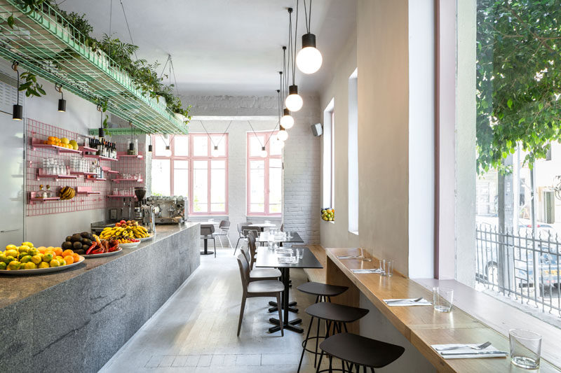 This Organic Food Cafe Makes Effective Use Of Metal Grid Shelving