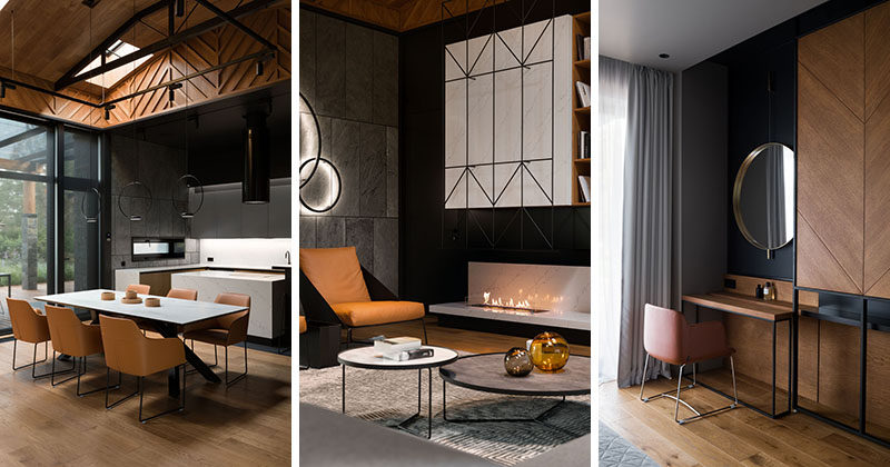 Denis Rakaev of D E N R A K A E V, has recently completed the interior design of a modern villa that lies on the outskirts of Kiev, Ukraine, and is surrounded by a forest. #ModernHouseInterior #ModernInteriorDesign
