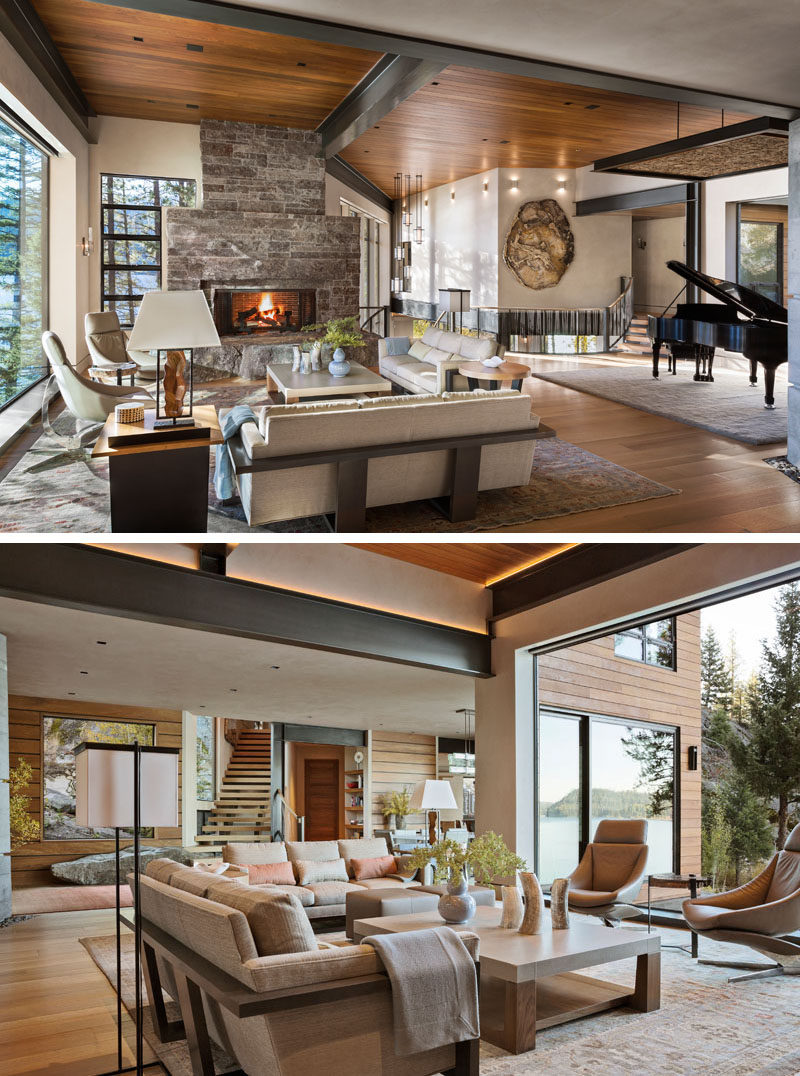 Upon entering this lakeside contemporary home, the large windows perfectly frame the views, and in the living room, a large locally-sourced granite fireplace is the focal point of the room. #LivingRoom #Fireplace #GraniteFireplace