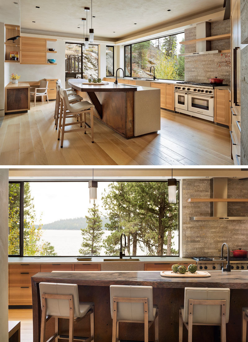 This contemporary kitchen features wood cabinets and concrete countertops with integrated sinks. #Kitchen #KitchenDesign #ConcreteCountertop
