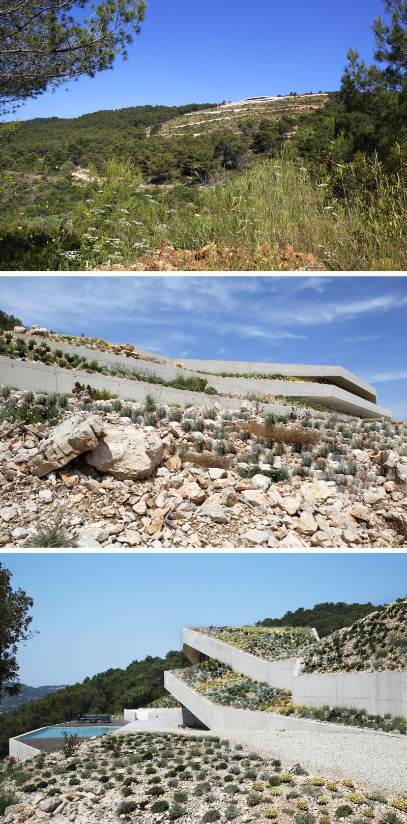 Proarh have recently completed Issa Megaron, a modern concrete house that's been designed for family retreats, and is dug into the hillside of Vis Island, Croatia. #Architecture #GreenRoof #ModernHouse