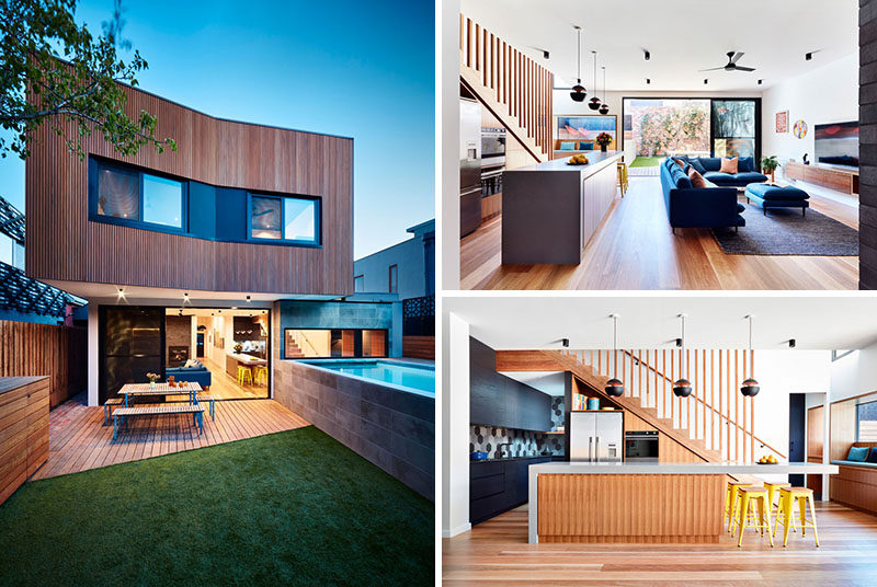 Australian architecture firm Bryant Alsop, have completed a modern two-storey rear addition to an inner-city site in Melbourne, that houses a workers cottage. #ModernAddition #ModernArchitecture
