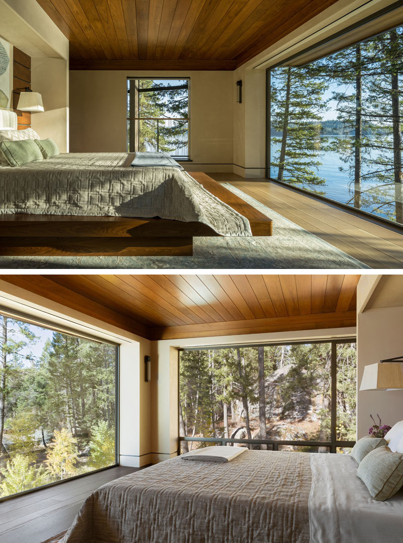 This contemporary master bedroom was envisioned with a low wood ceiling to provide a sense of privacy in contrast to the walls composed almost entirely of glass on two sides. #Windows #MasterBedroom #WoodCeiling