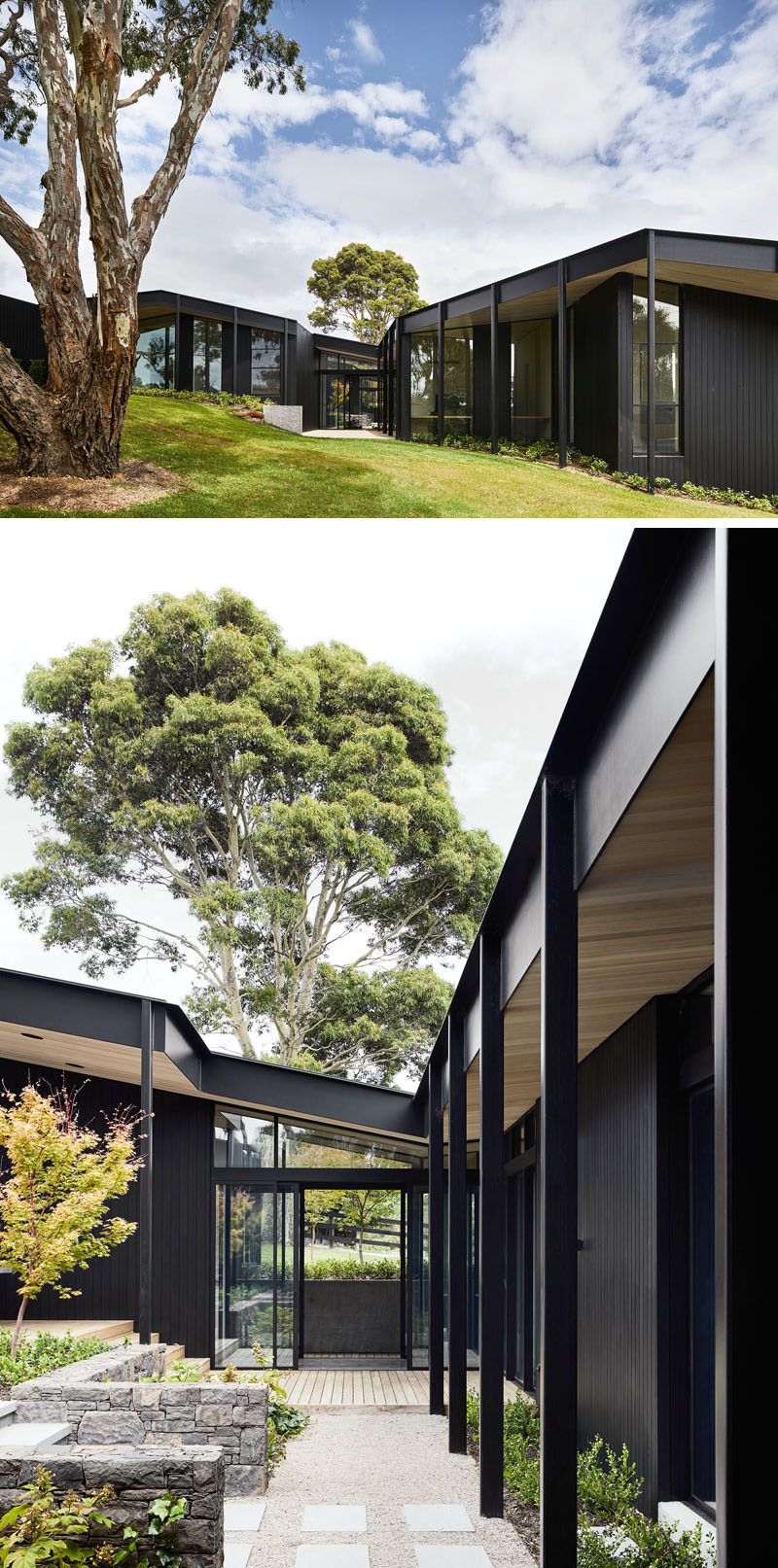 This modern farmhouse features three elongated pavilions that form a U shape, while the exterior has been clad in blackened timber, giving the home a monochromatic appearance. #ModernHouse #ModernArchitecture #HouseDesign