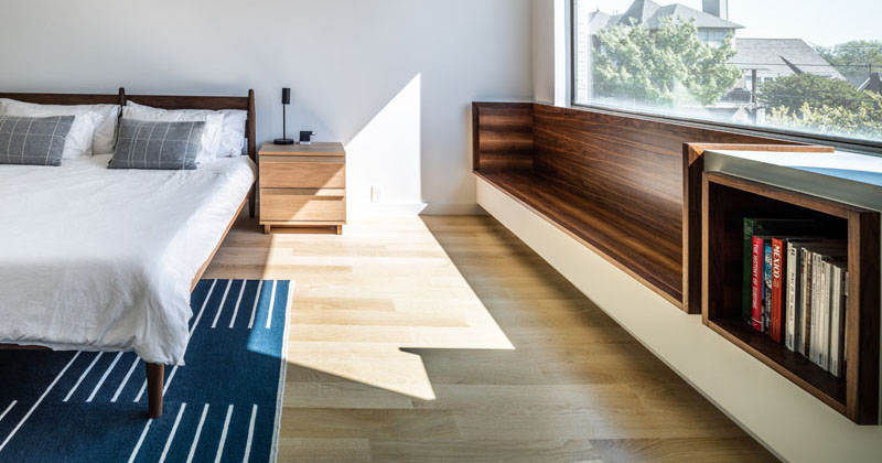Design Detail: A Built-In Window Seat With Shelving Was Added To The Design Of This Master Bedroom