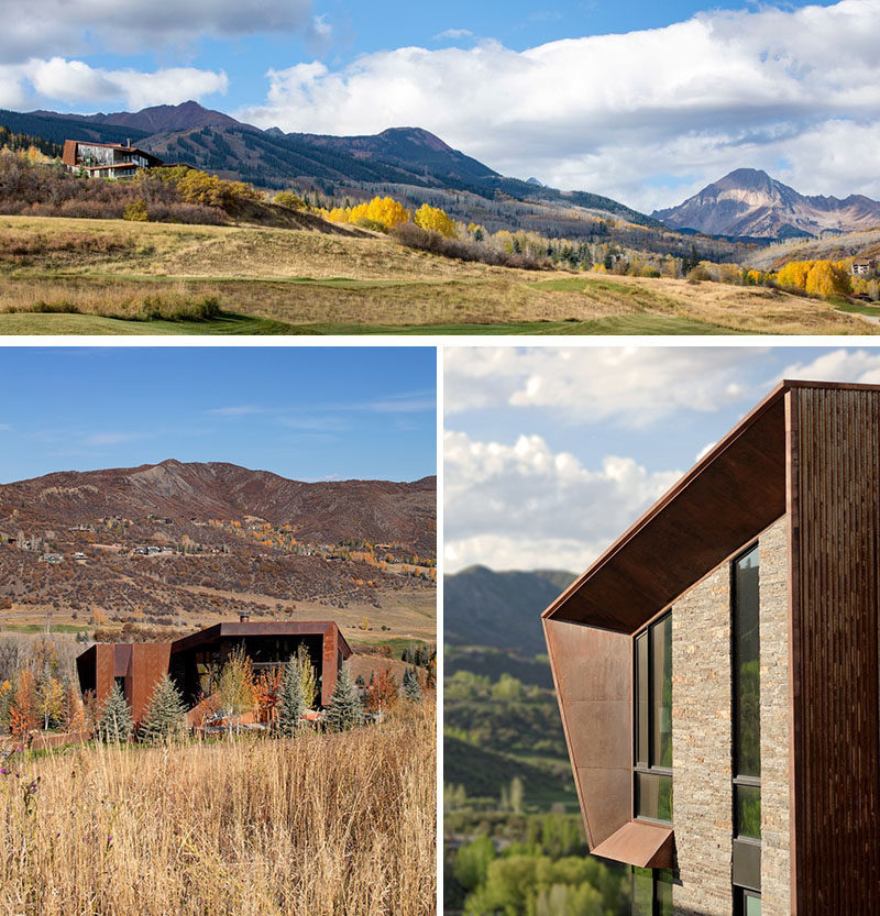Skylab have designed the Owl Creek Residence, asingle shared, stand-alone home in Snowmass, Colorado, that was built for two families. #ModernHouse #Architecture #HouseDesign