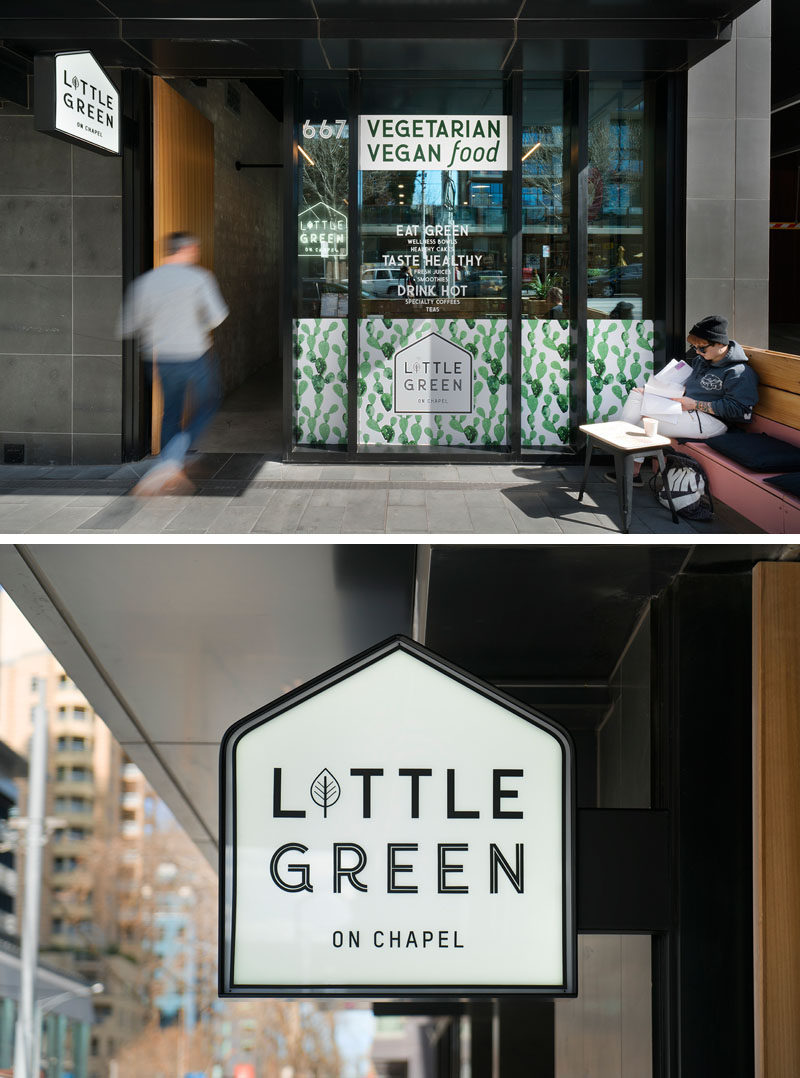 Benjamin Frétard of FRETARD Design has recently completed a new and small modern cafe named 'Little Green', that's located in the heart of Melbourne, Australia. #Cafe #GraphicDesign