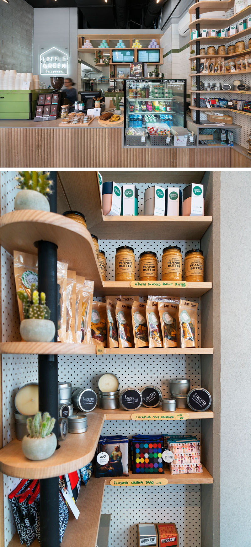Light wood curved shelving makes use of the corner in this modern cafe, and the black support element ties in with other black elements in the interior, like the ceiling. #ModernShelving #WoodShelving #Shelving