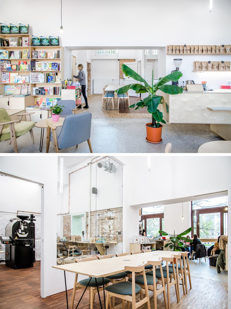 Located off the main open area of this modern coffee shop, is a semi-private area for meetings or workshops. #CoffeeShop #CoffeeHouse #Cafe #InteriorDesign