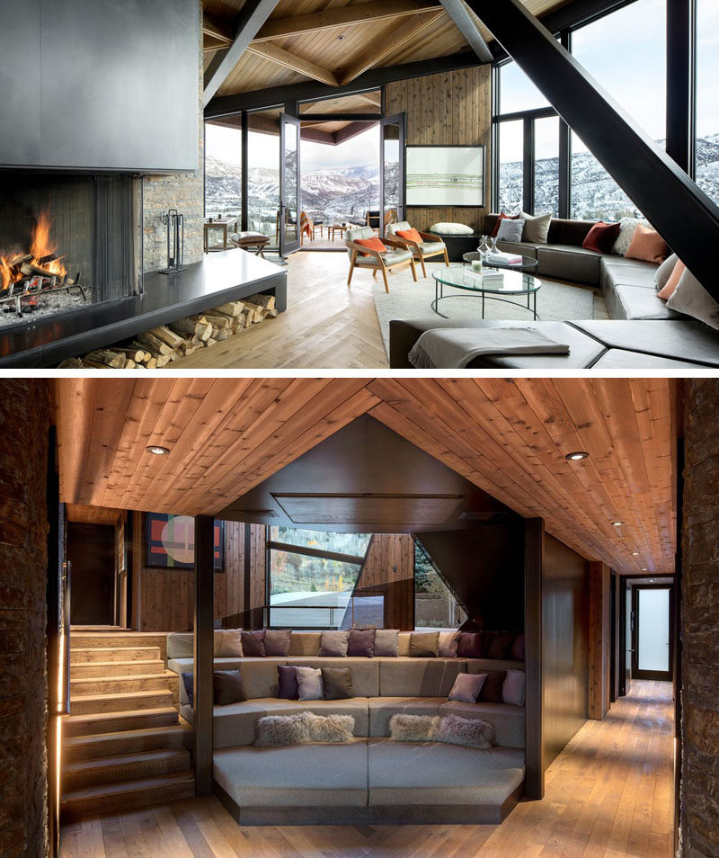 Inside this modern mountain home, there's a collection of lodge-like communal areas that are clustered together, creating a space that is both intimate and open. #LivingRoom #TieredSeating #ModernInterior