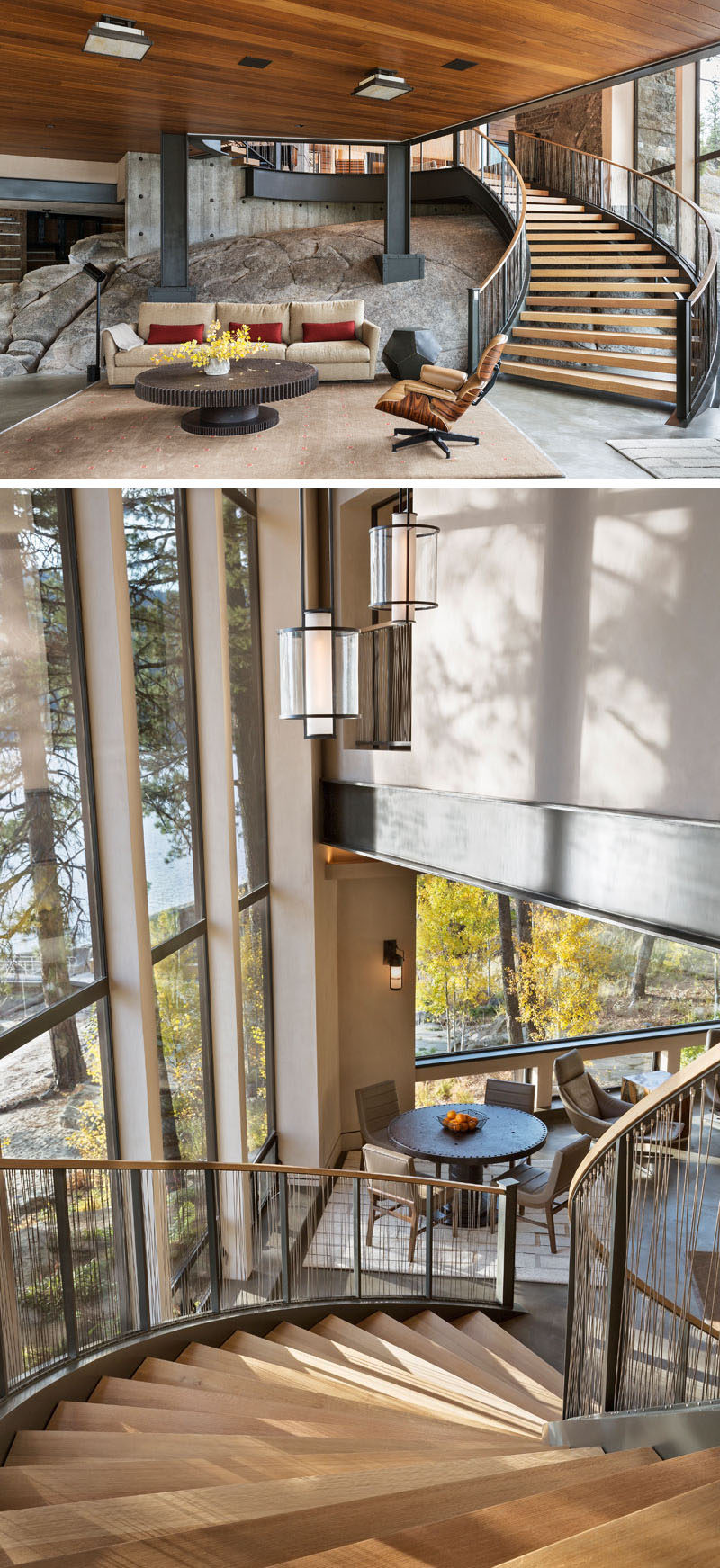 This circular staircase has been made from bent I-beams and wood, and leads from the main floor of the home down to the game room, that shows off a major piece of the natural bedrock from the site. #Stairs #SteelStairs #InteriorDesign