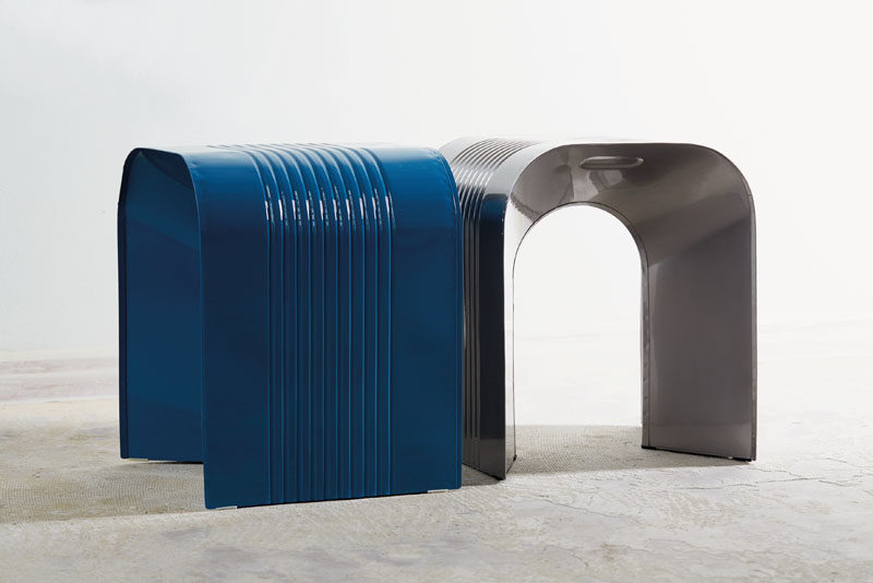 Netherlands-based designers Lennart and Lauren Leerdam, have created a steel stool that's inspired by one of the biggest icons in industrial mass production, the classic tin can. #ModernFurniture #SteelFurniture #SteelStool #ModernStool