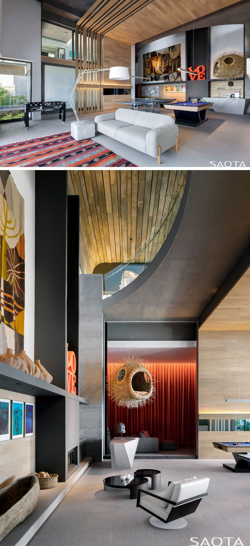 This modern house has a cinema and games room, that features double height ceiling and a variety of artwork, like the Blowfish by Porky Hefer and a Cecil Skotnes tapestry. #ModernGamesRoom #ModernInteriorDesign