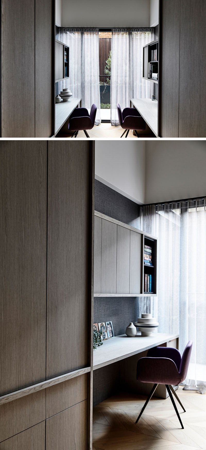 This modern home office has built-in shelving and enough room for two people to comfortable work. #HomeOffice #HomeOfficeForTwo