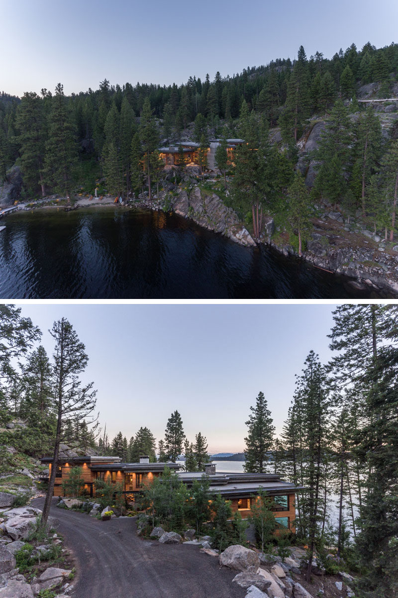 McCall Design & Planning have designed a waterfront vacation home for an active family in Idaho, that sits on a rocky cliff and overlooks Payette Lake. #ModernHouse #HouseDesign #ModernArchitecture