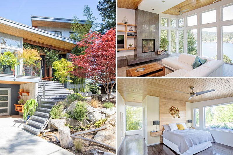ONE SEED Architecture + Interiors have designed a new modern house on the Sunshine Coast of British Columbia, Canada, that's perched atop a terraced outcrop of granite overlooking Garden Bay. #ModernHouse #Architecture #InteriorDesign