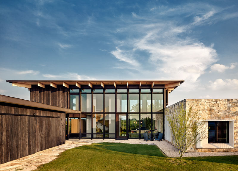 Michael Hsu Office Of Architecture have designed a new modern weekend house in Mason, Texas, that's located on and inspired by an old family campsite. #Architecture #ModernHouse