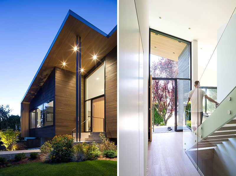 The sloped roof of this modern house creates a tall, light filled living space on the main floor of the house. #ModernHouse #SlopedRoof #FrontDoor #Entryway