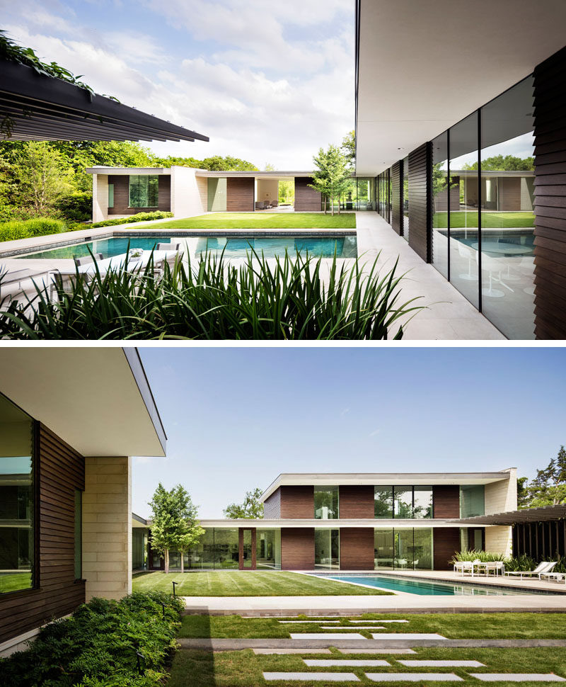 This modern L-shaped house wraps around the back garden, where there's a swimming pool, cabana, and lawn. #SwimmingPool #Architecture #LandscapeDesign