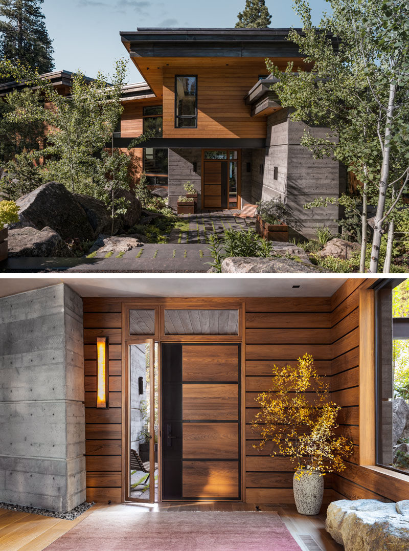 The exterior of this modern house is comprised almost entirely of teak over a rainscreen system, thermally broken steel windows, and a fascia of natural zinc that was aged prior to installation on site. #ModernHouse #WoodSiding #WoodFrontDoor