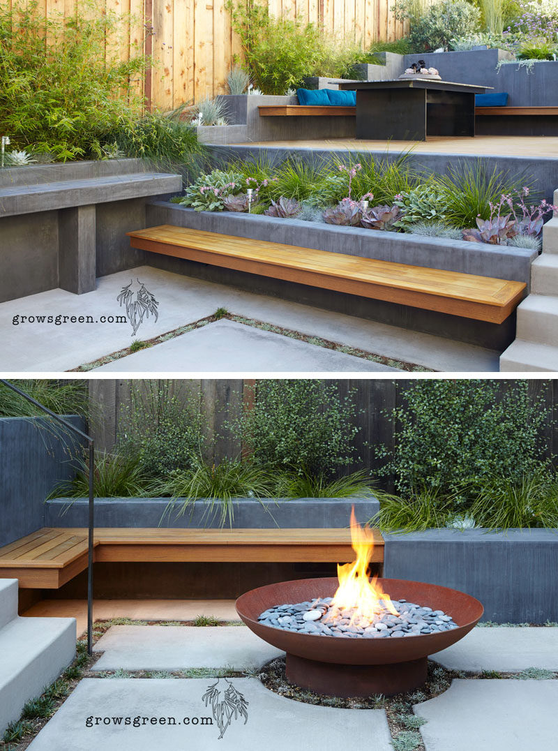 This backyard was transformed into a modern tiered garden with seating, a firebowl, a water feature, and stairs connecting the different levels. #ModernBackyard #ModernLandscaping #TieredBackyard