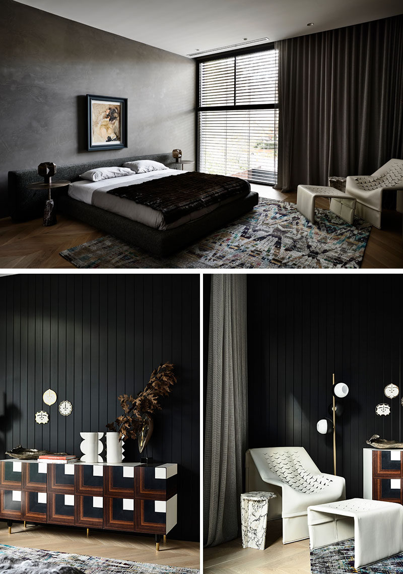 In this modern master bedroom, dark walls, curtains, and furniture contrast the light flooring and lighter elements. #ModernBedroom #DarkBedroom #BedroomDesign
