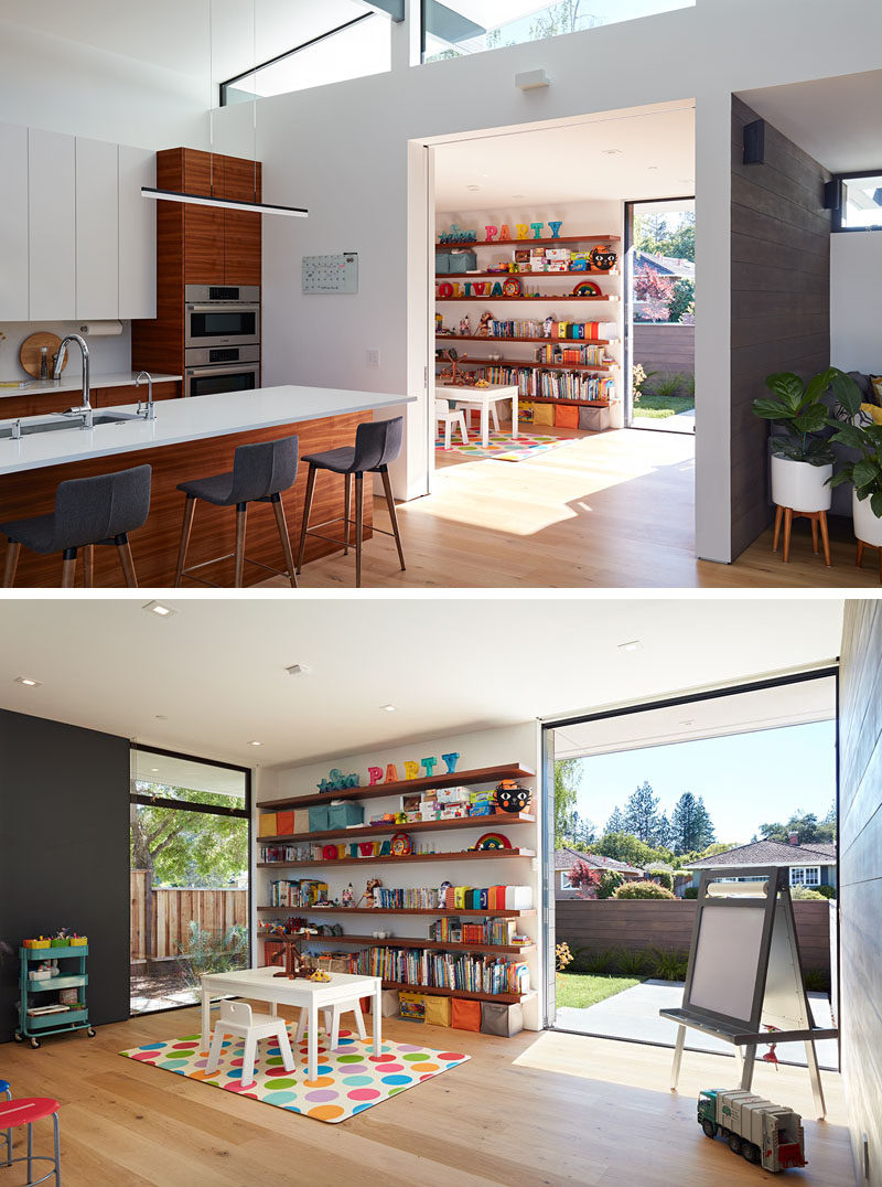 This modern house has a play room that opens to a small front garden. #PlayRoom #InteriorDesign