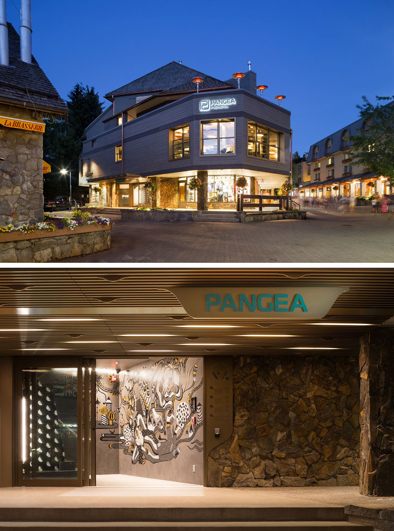 Vancouver-based firm Bricault Design have recently completed the newly opened Pangea Pod Hotel in Whistler, Canada, that features a bar, storage room, and small sleeping pods. #Whistler #ModernHotel #PodHotel #InteriorDesign #HotelDesign