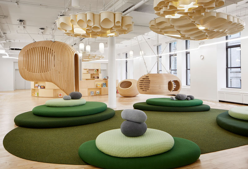 BIG and WeWork have collaborated to create the first WeGrow school in New York City, as an interactive learning landscape that supports a conscious approach to education, nurturing the growth, spirit and mind of the 21st century child. #SchoolDesign #InteriorDesign #EducationDesign