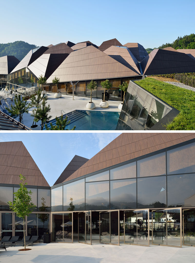 This roof of this modern wellness center was divided into sets of smaller segments to prevent its scale from overwhelming the surroundings. #Architecture #Roof