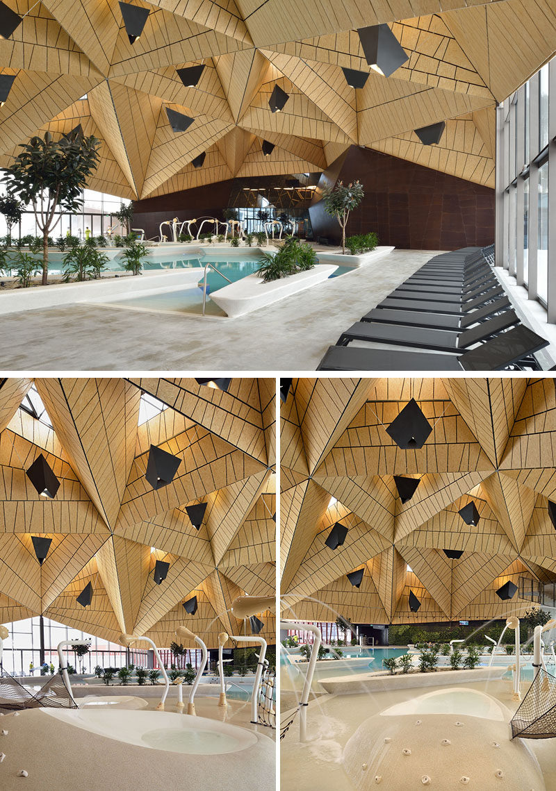 Inside this modern wellness complex, tetrahedral shapesused for the ceiling / roof allowed the entire pool space to be covered virtually without supports. #Architecture #BuildingDesign