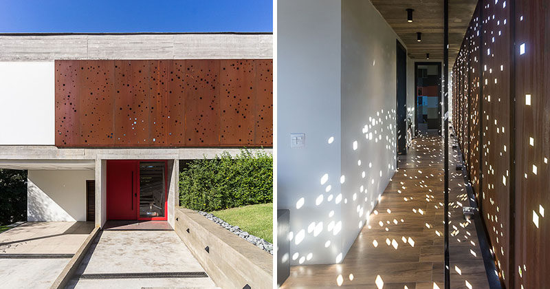 Design Detail: A Perforated Steel Screen Provides Privacy And Shade For This Brazilian Home