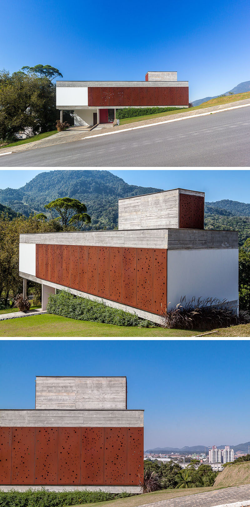 PJV Arquitetura have designed a modern concrete house that has an artistic perforated weathering steel screen to provide privacy and shade. #Architecture #WeatheringSteel #SteelScreen