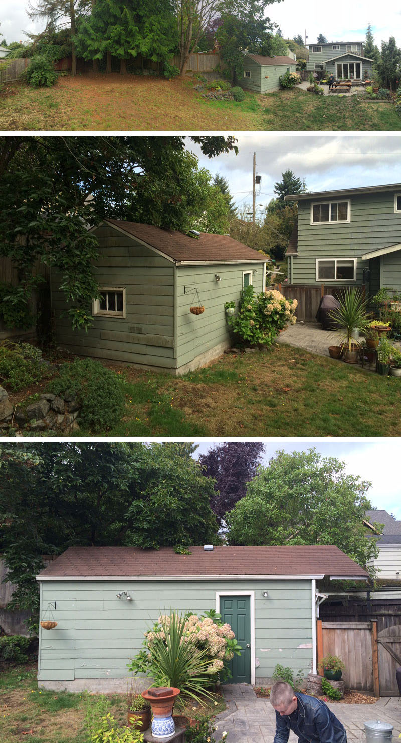BEFORE PICS - Best Practice Architecture have converted what was once a regular backyard garage and transformed it into a lofty and often tiny house. #TinyHome #TinyHouse #GarageConversion